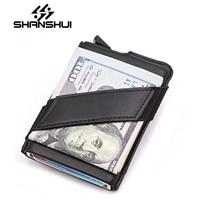 SHANSHUI Money Clip Metal Men Aluminium Credit With Rfid Blocking Genuine Leather Mini Wallet Carteira