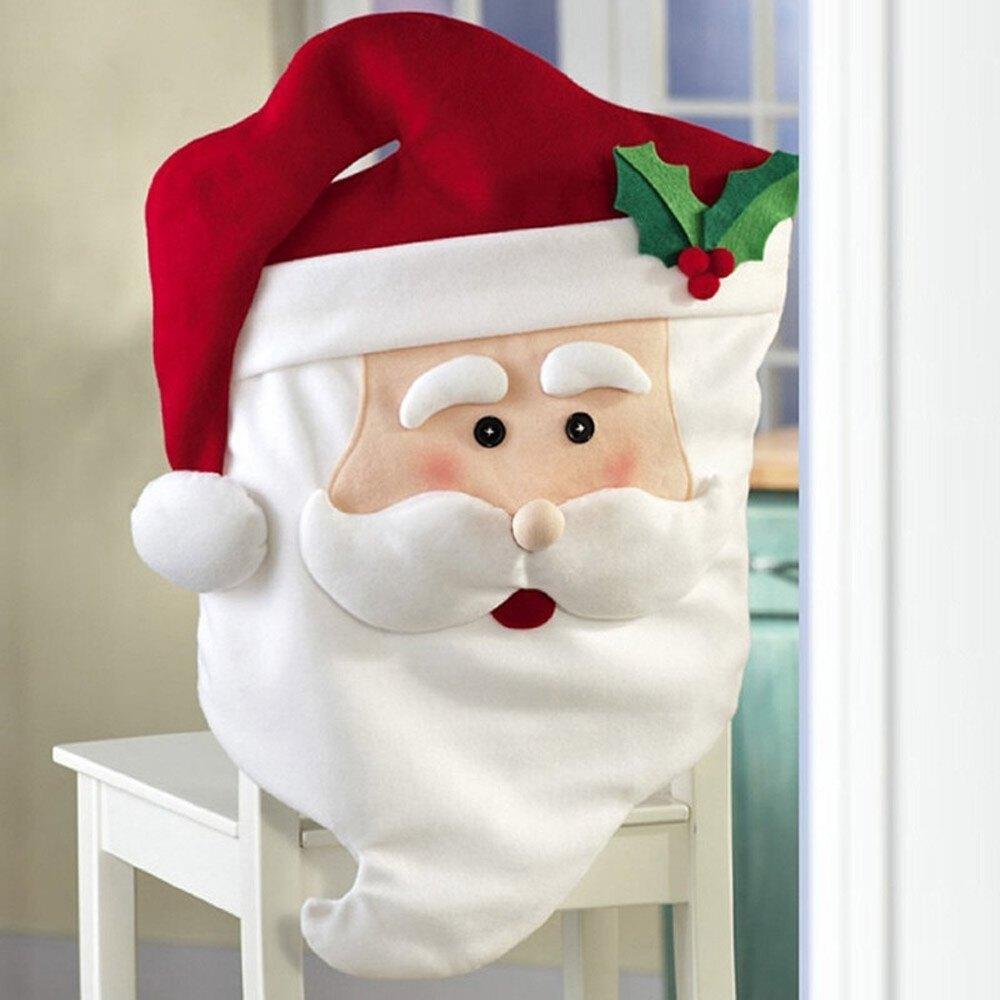 Christmas chair back covers - 1pcs Santa Chair Covers 74 44cm Claus Natal Navidad Indoor Christmas Xmas New Year Decorations