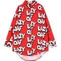NEW womens maxi chiffon shirt das mulheres plus size camisas para mulher senhoras estilo longo de grandes dimensões blusas verão carta de impressão vermelho blusa