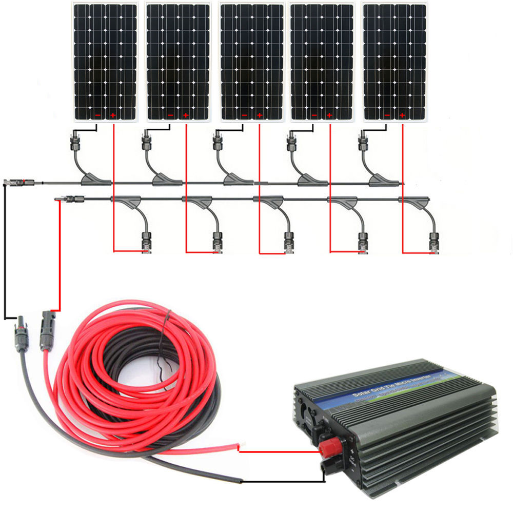 Usa Style Home Systerm750w 5150w Mono Solar Panel System With Wiring 1000w 12v 120v Grid Tie Invertor In Cells From Consumer Electronics On