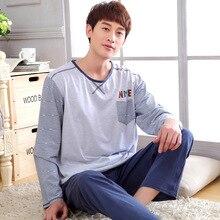High Quality Men Pajama Sets 100% Cotton Autumn and Winter Male Sleepwear Long-Sleeve O-Neck Pullover Lounge Sleep Set 1626