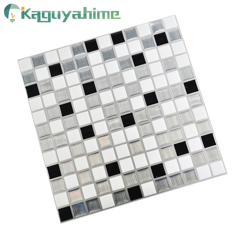 Kaguyahime Self Adhesive Mosaic Tiles 3D Kitchen Stickers Waterproof Wallpaper DIY Brick Tile Antifouling Kitchen Wallpaper
