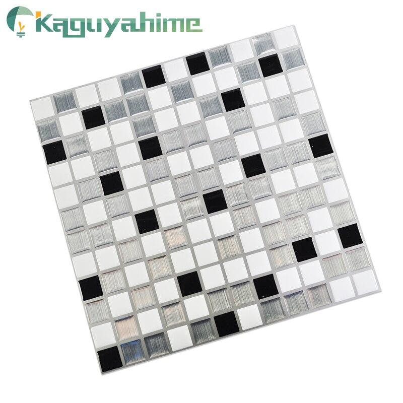 Kaguyahime Self Adhesive Mosaic Tiles 3D Kitchen Stickers Waterproof Wallpaper DIY Brick Tile Antifouling Kitchen Wallpaper