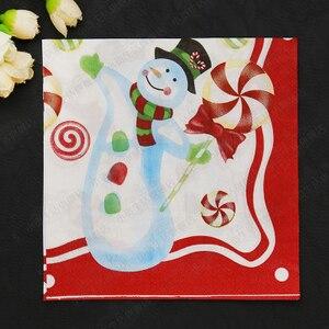 Image 5 - 20 guardanapo de papel do vintage impresso papai noel boneco de neve decoupage serviletas casamento bonito crianças festa de aniversário decoração