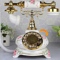 British rilievo antika Fashion Vintage Telephone Swivel Plate Rotary Dial Antique Telephones Landline Phone Office Home Hotel