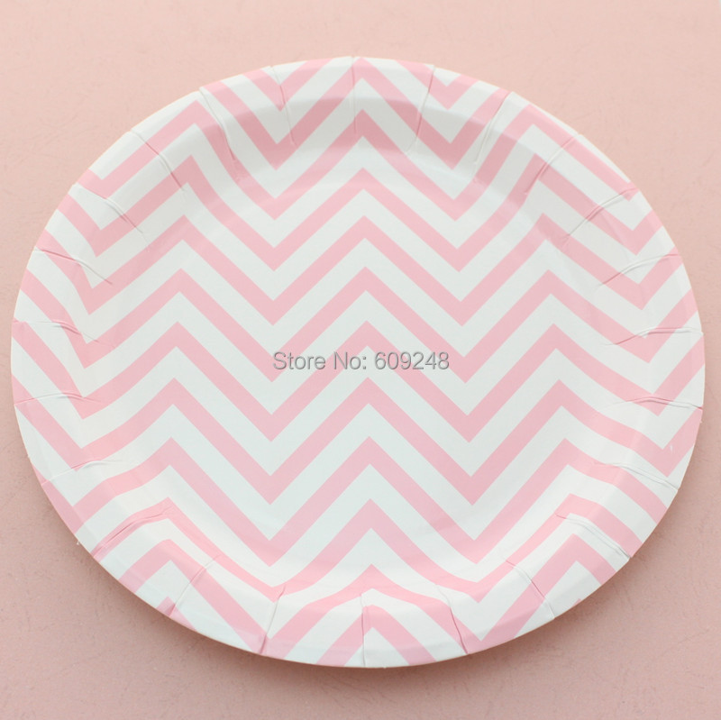 24pcs 9 pink chevron dessert paper plates round personalized dinner