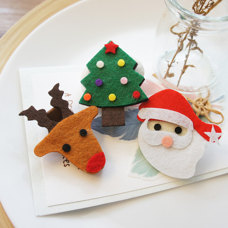3Pcs/Lot Cute Christmas Tree Decorations Deer Santa Hairpins For Kids Home Party Girls Clips Hair Accessories Ornaments Supplies