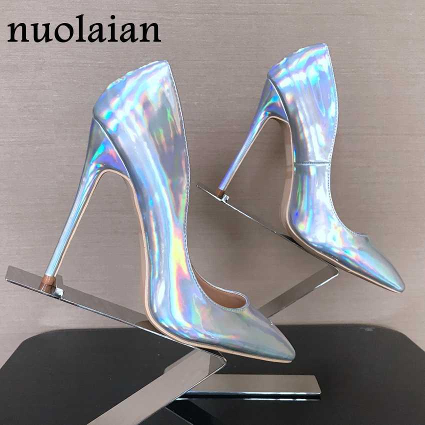 Kadınlar Patent Deri Yüksek Topuk Ayakkabı Bayan Elbise Sivri Burun Yüksek Topuklu Kadın Platformu Pompaları Ince Topuklu Ayakkabı Bayan Pompa çizme