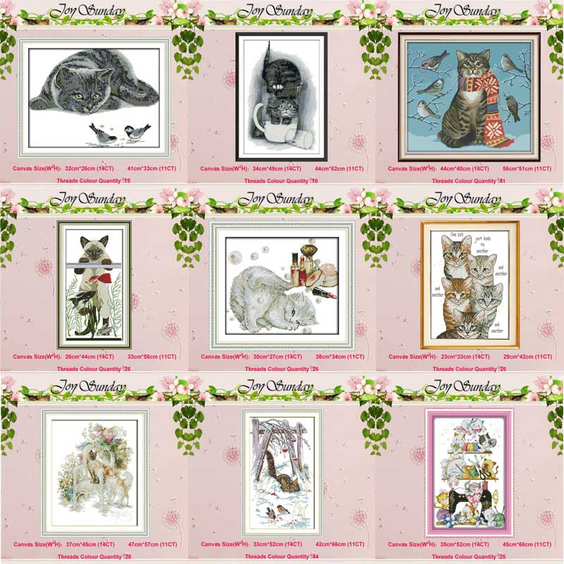 Greedy Cat Kitten Nimals Counted 11CT 14CT Cross Stitch Set DIY DMC Chinese Cross-stitch Kit Embroidery Needlework Home Decor