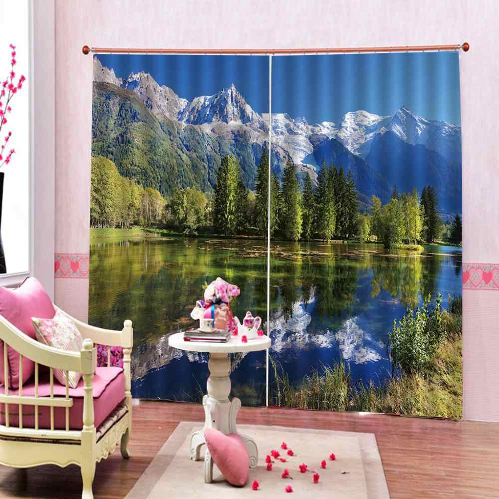 landscape Curtain office Bedroom 3D Window Curtain Luxury living room decorate green curtians