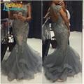 Серый аппликации из бисера тюль русалка выпускного вечера сексуальная открытой спиной Cap рукав длинный ну вечеринку вечернее платье 2016 Vestidos Formatura
