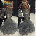 Cinza apliques De contas Tulle Mermaid Prom Dress Sexy abrir voltar Cap manga longo festa vestido 2016 Vestidos De Formatura