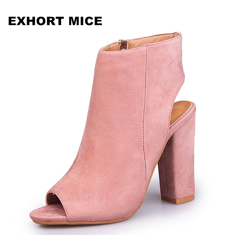 2019 Fashion Women\'s Peep Toe Summer Open Toe Pumps Casual Faux Suede Ankle Boots Thick High Heels Peep Toe Women Pumps Sandals