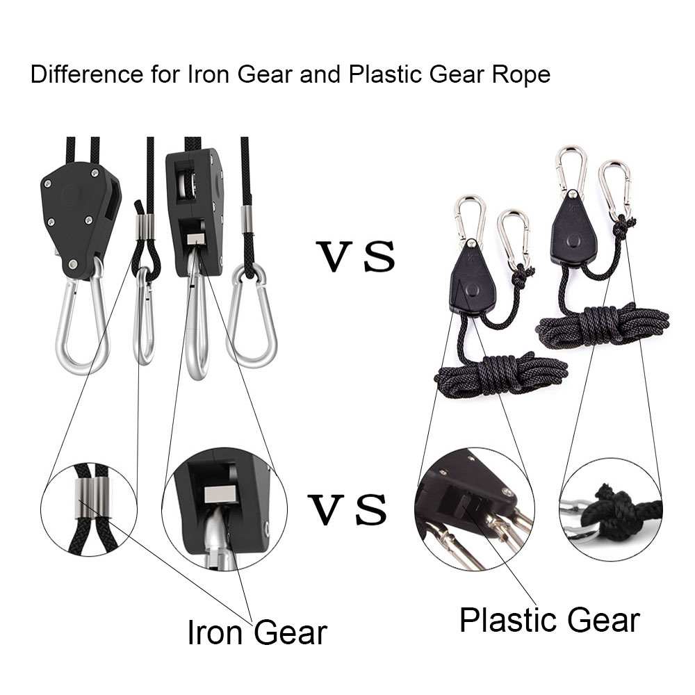 Adjustable 1 Pair 2 PCS 18 Inch Nylon Rope Ratchet Yoyo Hangers Light Hanging Kit for LED Grow Light Grow Tent Room  (21)