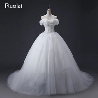 Real Photo High Quality White Ivory Off The Shoulder Wedding Dress Long Lace Floral Bridal Gown