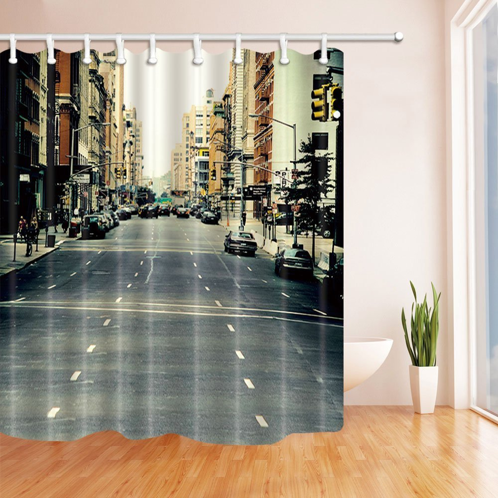 United States Wanderlust City Shower Curtains, Street With Houses Buildings And Car on the Road, Shower Curtain