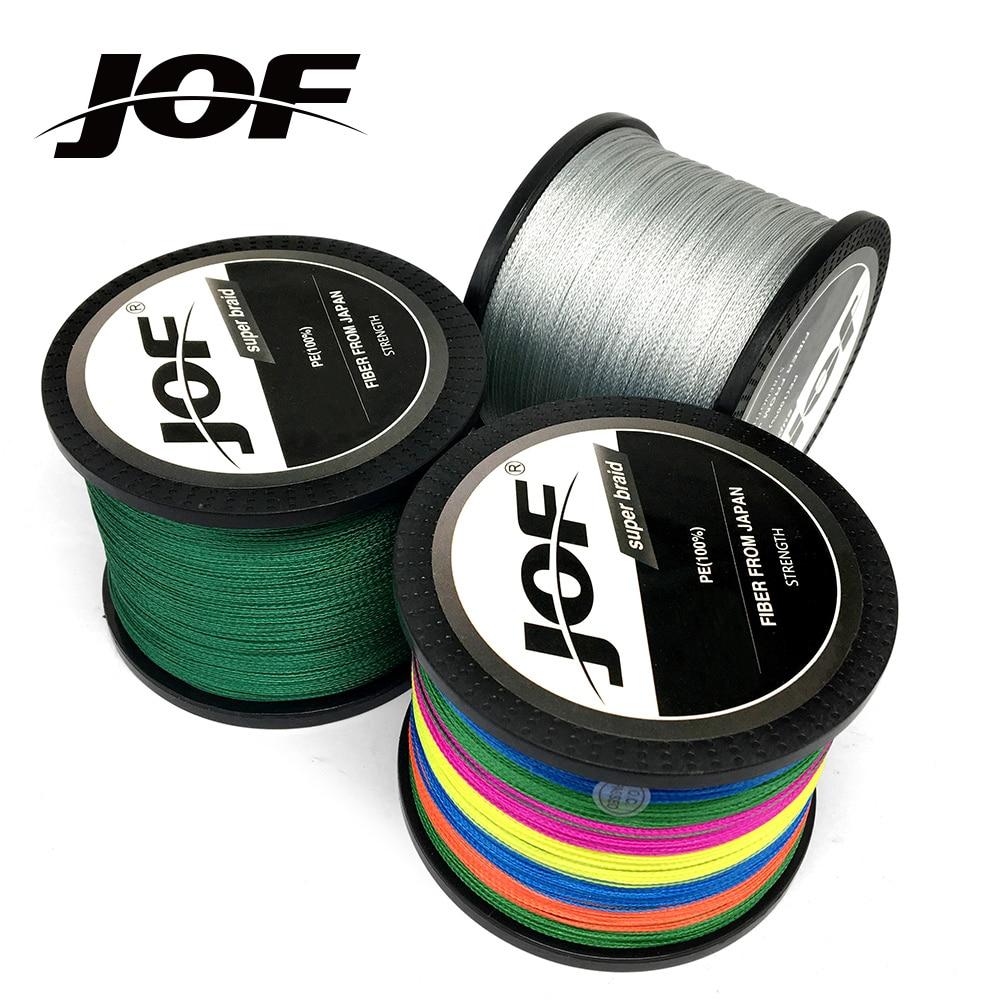 4 stränge 1000 mt 500 mt 300 mt JOF PE Multicolor Geflochtene Angelschnur 4 Weben Überlegene Extreme Starke 100% supermacht
