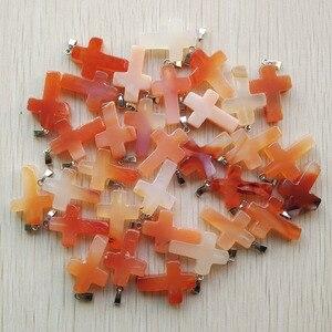 Image 4 - Atacado 50 pçs/lote pedra natural mista cor mista, encantos cruz colares fabricação de jóias