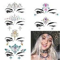 5 шт./лот 3D Кристалл Блеск Jewels татуировки Стикеры лица и тела Art Самоцветы Цыганский Фестиваль Украшением вечерние макияж красивые наклейки