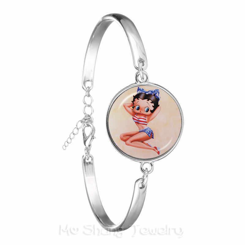 2018 новый сексуальный и прекрасный Betty Boop браслет с узором Шарм 18 мм стеклянный купол ручной работы цепочка браслет ювелирные изделия для Женщины Мужчины подарок