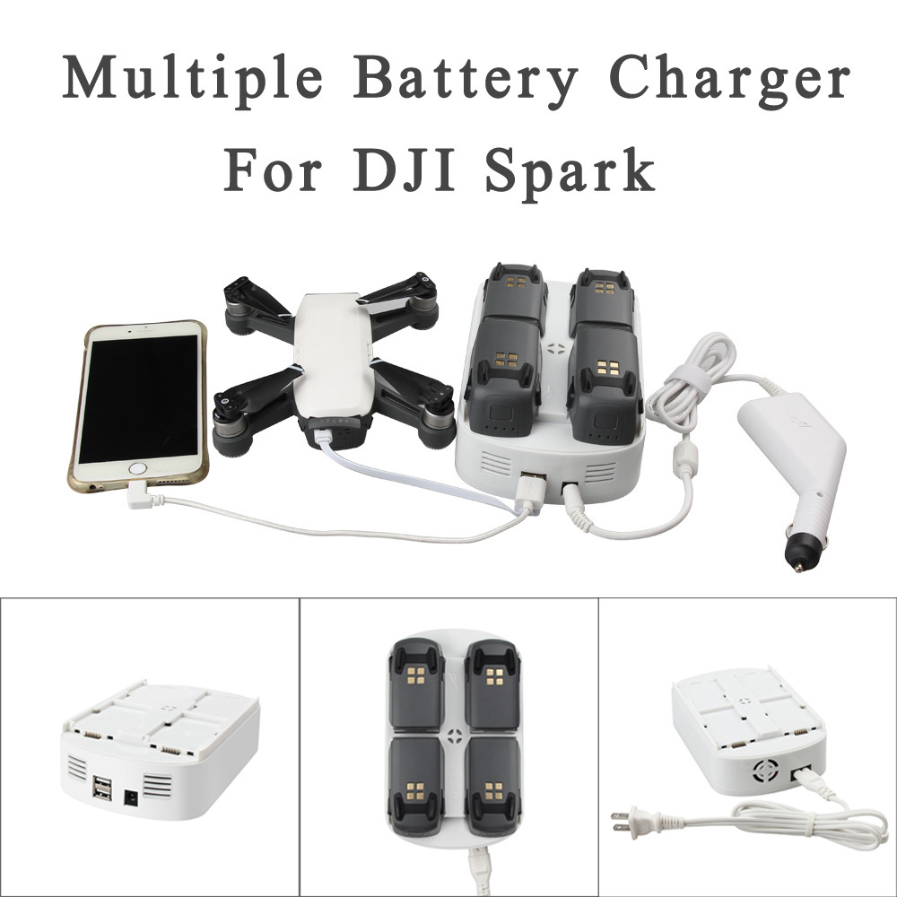 7 In 1 Updated Intelligent Multiple Battery Charger Charging Hub and Car Charger for DJI Spark Battery Free Shipping dji spark battery charging hub drone charger charge part 7 black for intelligent flight battery original