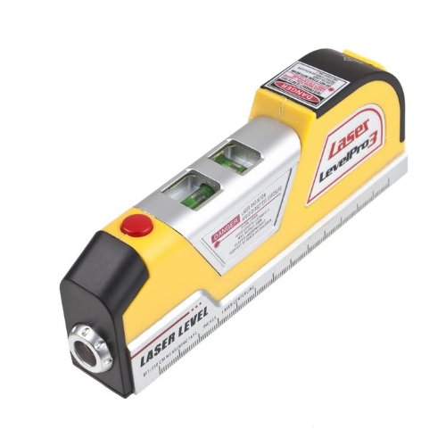 LHLL-Generic LV02 Laser Level Horizon Vertical Measure Tape 8FT Aligner Multipurpose Ruler Yellow