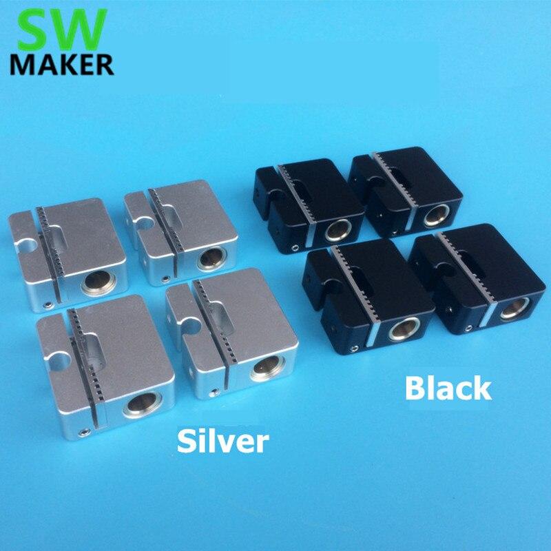 SWMAKER 4 pcs Ultimaker 2 aluminium croix curseur + synchrone ceinture boucle UM2 3D imprimante pièces noir/argent 8 MM arbre lumineux
