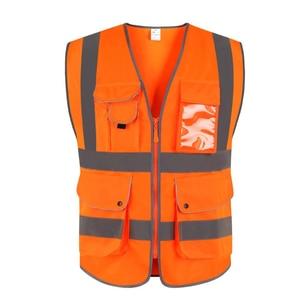 Image 3 - EN 20471 ANSI/SEA High Visibility Zipper Front Safety Vest With Reflective Strips construction safety reflective vest