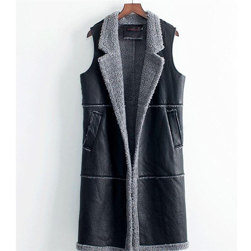 Women Soft Ladies thick PU Leather Pocket vest Lamb Fur long jacket plus size cashmere vest