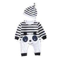 2 unids Niñas ropa bebé recién nacido mameluco + sombrero de dibujos  animados Panda manga larga Niño Niños algodón mono enfant M.. d340147bc52