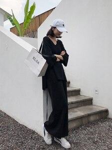 Image 2 - Örgü kadın kazak pantolon kadınlar için iki parçalı Set kazak v yaka uzun kollu bandaj üst geniş bacak pantolon takım elbise