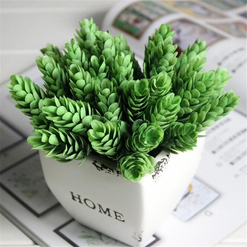 1 Bouquet 6 pcs Home Decor High Simulation Green Plant Pineapple Grass Home Decoration Artificial Flower Plant P0.2