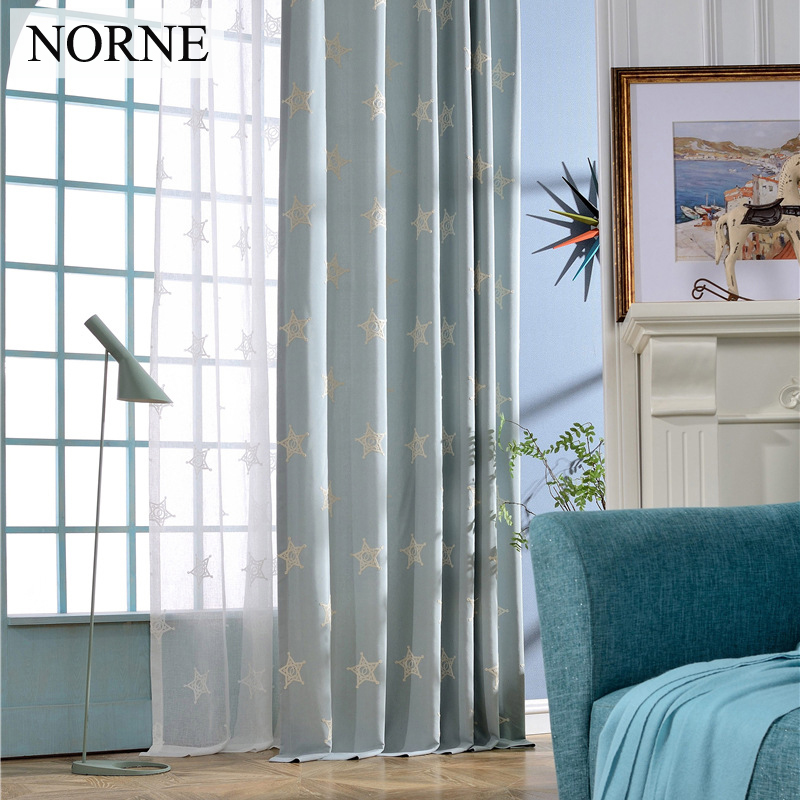 NORNE Faux Linen Classic Modern Room Darkening Star Embroidery Curtain Panel Bedroom Window Curtains / Draperies for Living Room