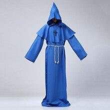 Mens Vestido Medieval Wizard Costume Women Vintage Renaissance Monk Cosplay Cowl Friar Priest Hooded Robe Rope Cloak Cape Dress