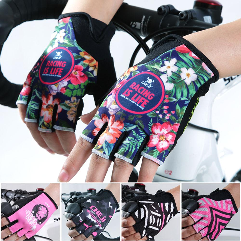 Women s Cycling Gloves Summer CHE JI Team Sport Gloves Half Finger Mountain Bike Gloves Gel