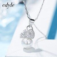 Cdyle Women Pendants Necklaces Fashion S925 Sterling Silver Jewelry Australian Rhinestone Paved Wedding Engagement Bijous