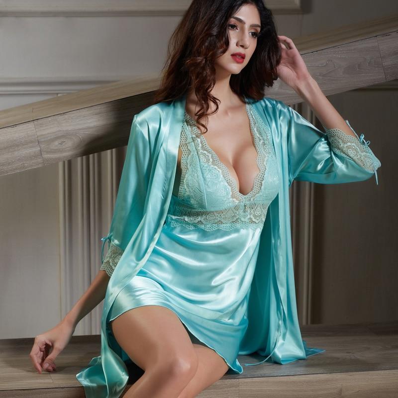 Xifenni Robe Sets Female Faux Silk Sleepwear Women Lace SILK Bathrobes Deep V-Neck Sleeping Dresses Sexy Home Clothing 6621