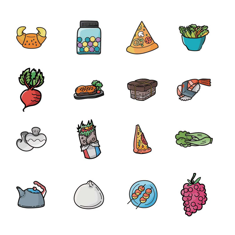 5pcs Backpack cute food series icon badges clothes cartoon on acrylic badge support custom brooch