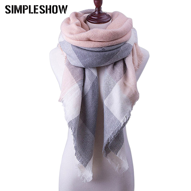 Fashion 2018 Winter Scarf For Women Plaid Scarves Designer Ladies Blanket Wrap Cashmere Triangle Warm Scarf Shawl Free Shipping