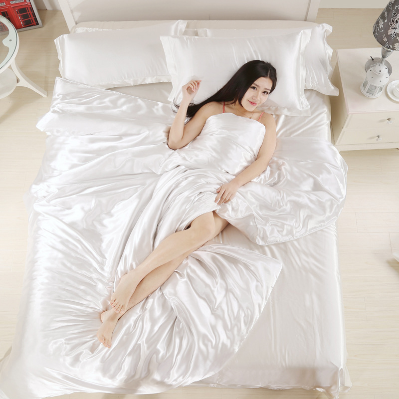 Pure Satin Silk beddingset Twin Queen King Sheet Duvet Cover pillowcase