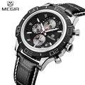 2017 New Luxury Brand Megir Leather Mens Sports Watches Luminous Pointer Quartz Man Military Chronograph Waterproof Wrist watch
