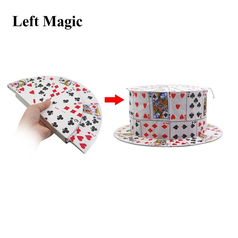 Carte pliante ventilateur à carder chapeau haut-de-forme tours de magie printemps scène accessoires Illusions Gimmick outil nouveautés comédie accessoires