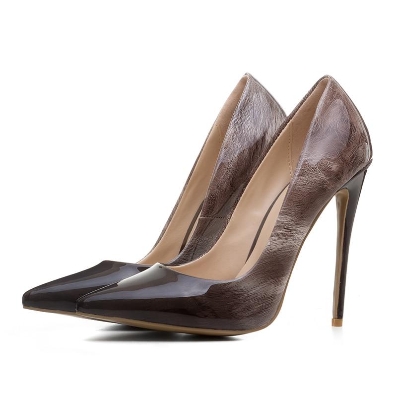 Pompe brown Scarpe Eleganti Thin 12 Slip Partito Delle Ufficio Signore Di  Tacchi Black Cm Brevetto Le Talloni Donne ... c0165563d10