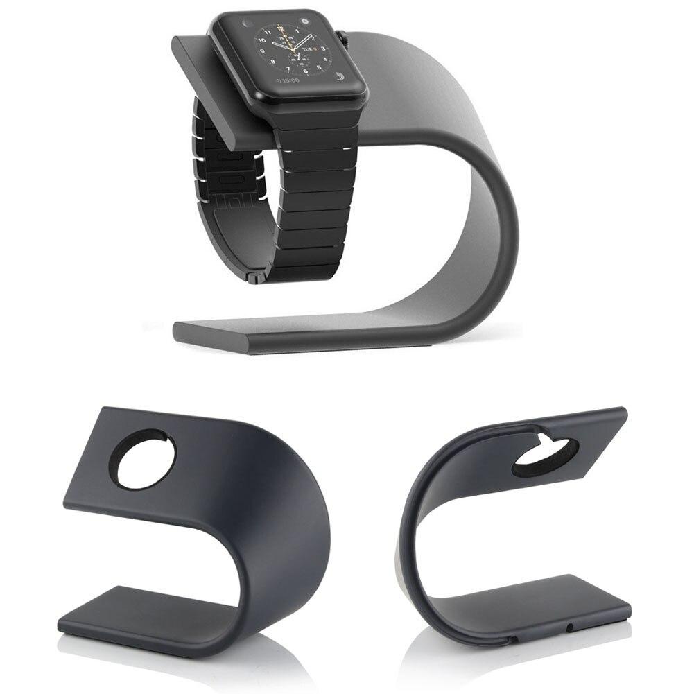 Alloet 1 piezas aluminio tipo U cargador soporte de carga muelle soporte para Apple Watch Metal Kickstand cuna