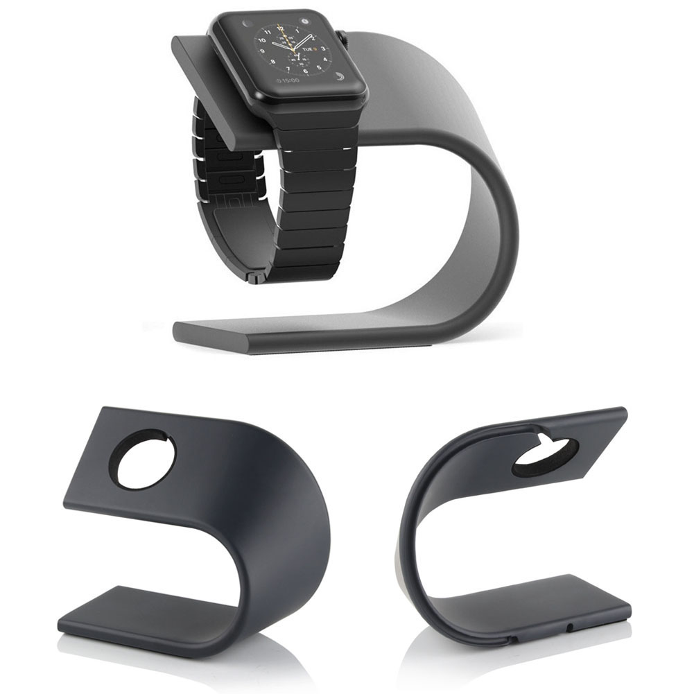 Alloet 1pcs U Type Aluminum Charger Charging Holder Stand Dock Station Bracket For Apple Watch Metal Kickstand Cradle