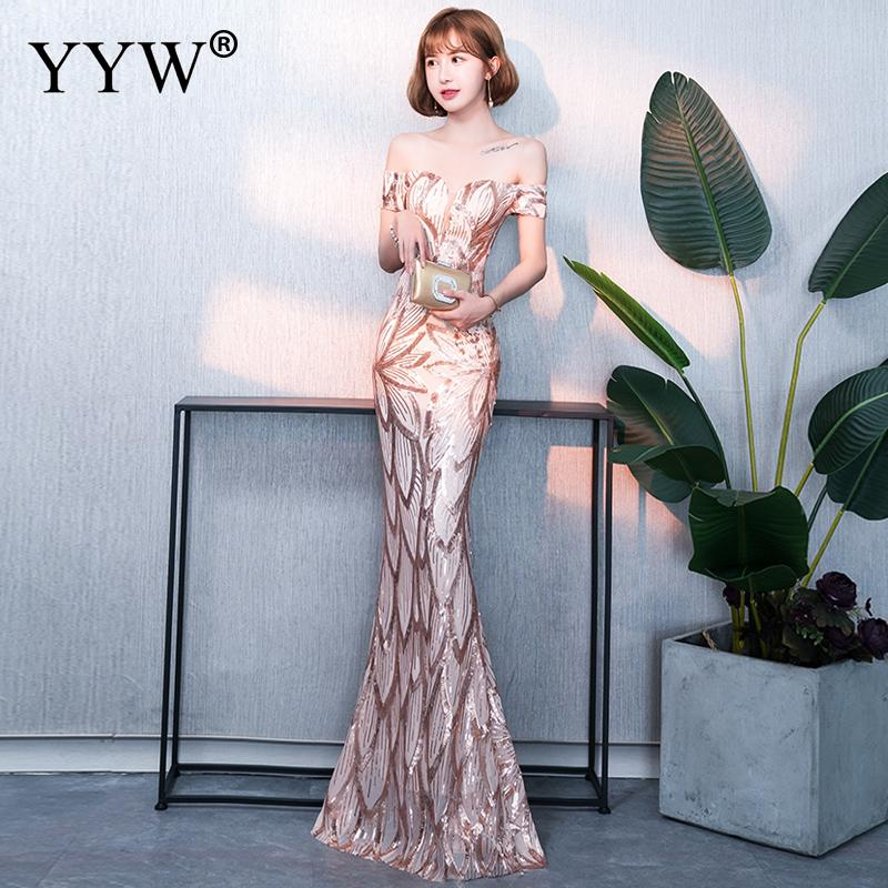Gold Sequin Floral Evening Long Party Dress Women Sexy Off Shoulder Mermaid Dress Ladies Slim Bodycon Elegant Formal Gowns 2019