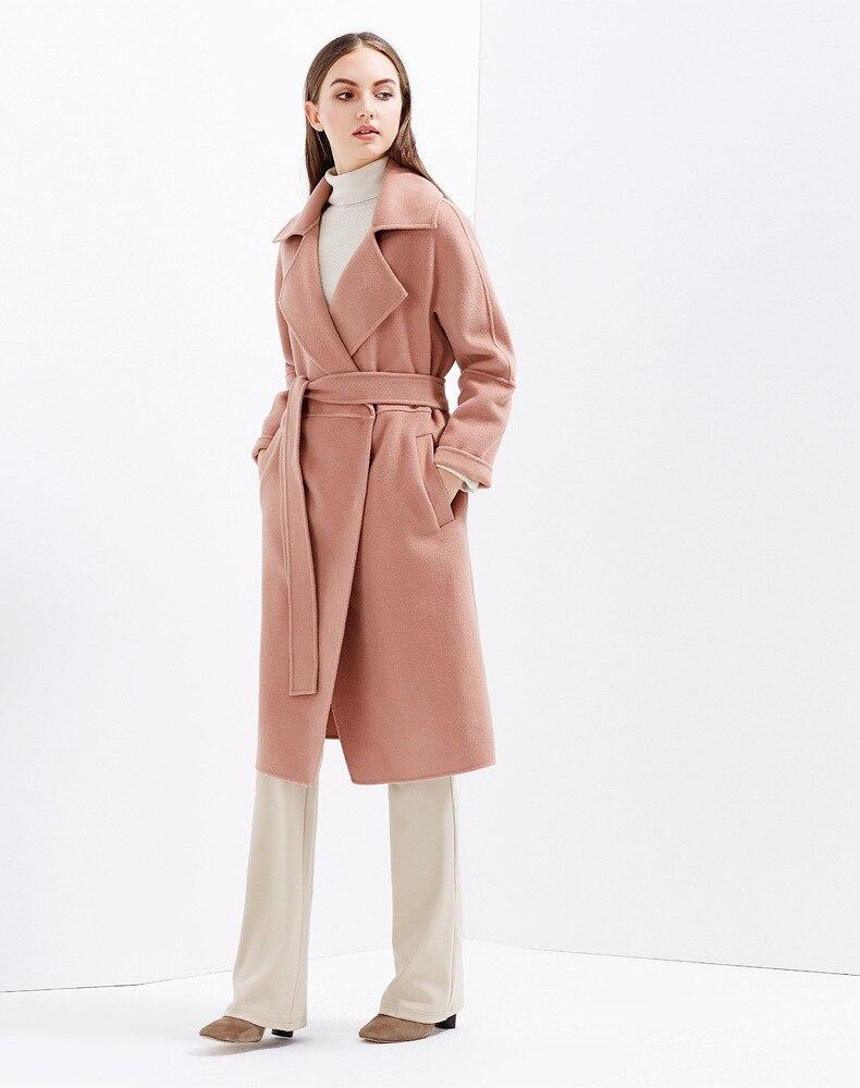 Pink Ceinturée beige Main Caramel Femmes 2018 Manteau Irinaw910 Fait De Caramel Longue Laine Col Face Nouveauté Gray Double gray Couleur Rabattu qBWwCUz