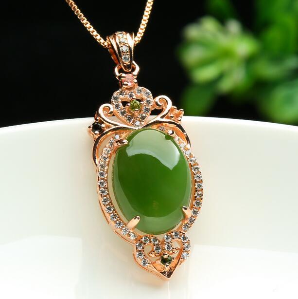 Fine Jewelry Natural Green Hetian Jades Big Bead Pendant Carved Pendants Women Or Mens Amulet Nephrite Jades Jewelry