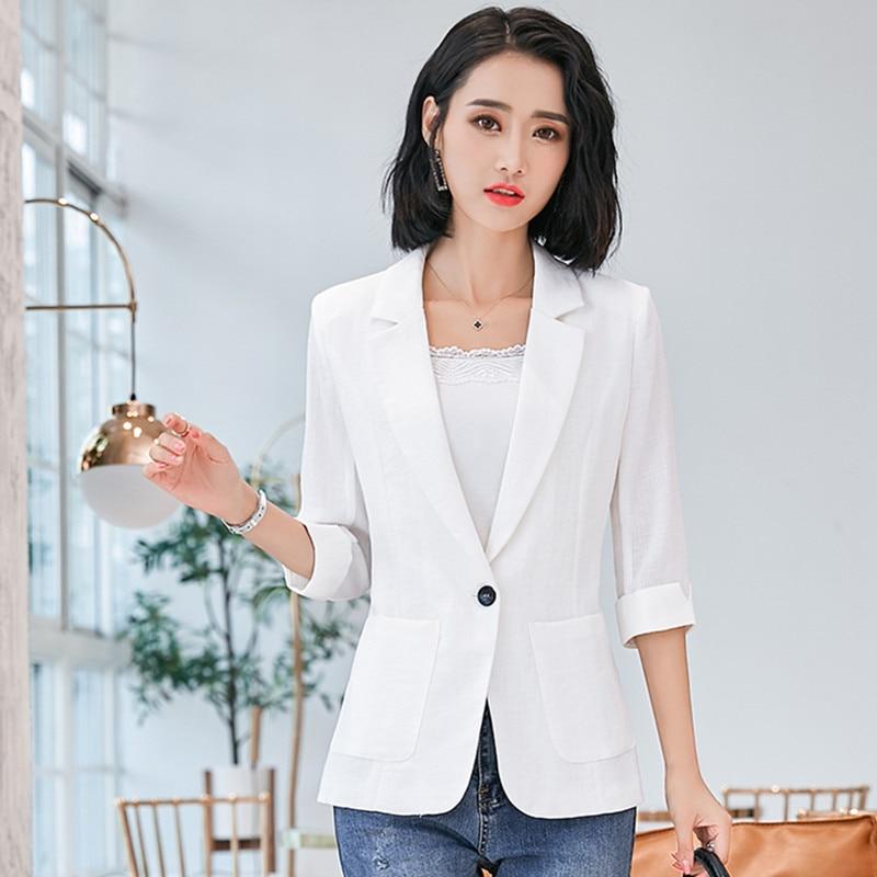 Seven sleeve Cotton linen Women Blazers Jacket Spring Summer Slim Thin Outerwear Suits Casual Female One button All match Blazer