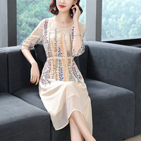 Spring and summer new chiffon embroidered seven point sleeve lace waist show thin in A long temperament a line dress c81